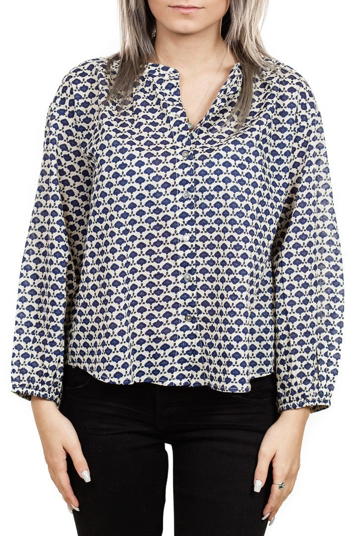 Velvet Catalina Printed Cotton Voile Blouse in Aurora
