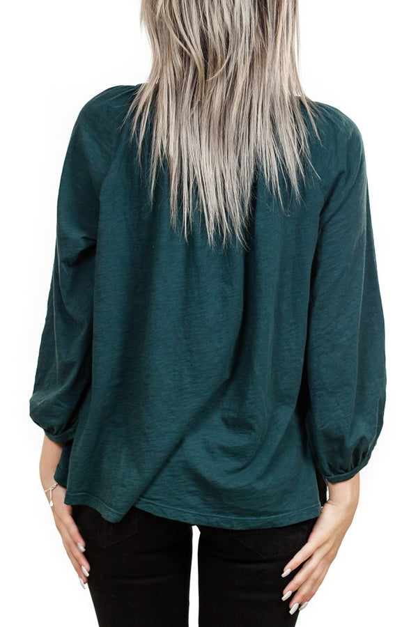 Velvet Linds Cotton Slub Henley in Holly