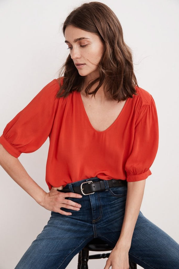 Velvet Marise Rayon Challis Scoop Neck Top In Rio