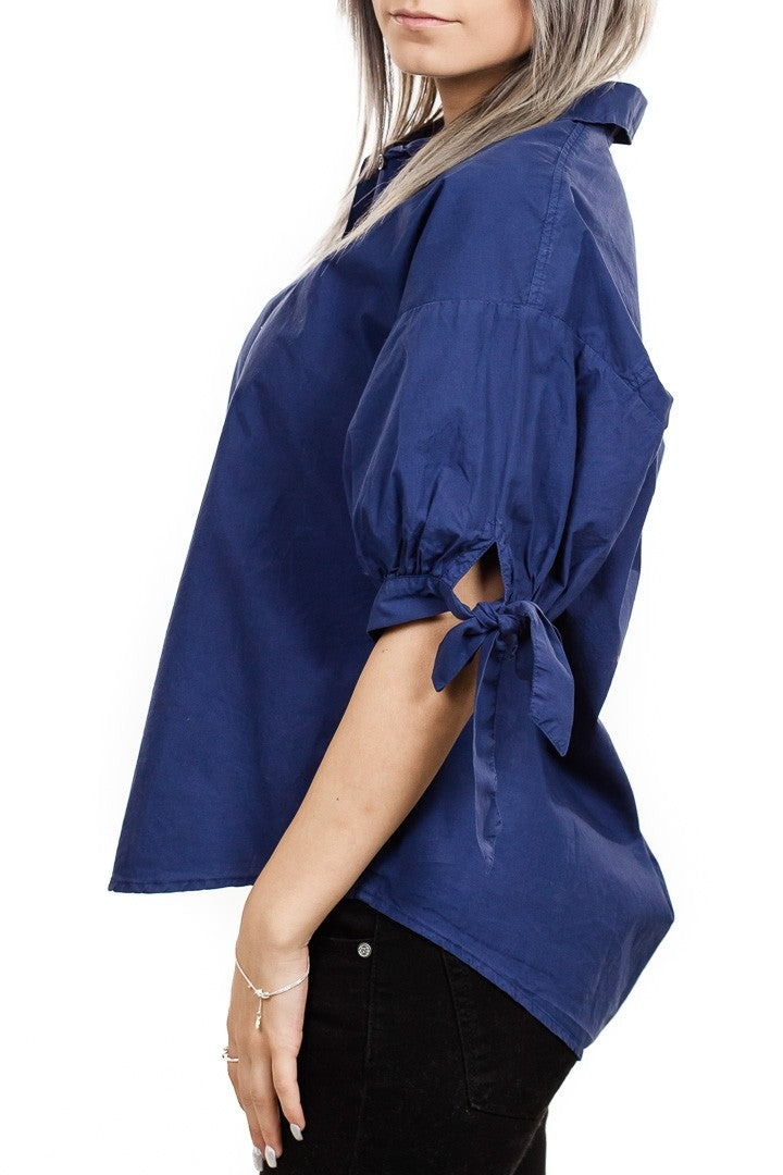 Velvet Meryl Cotton Poplin Tie Sleeve Button Up in Navy
