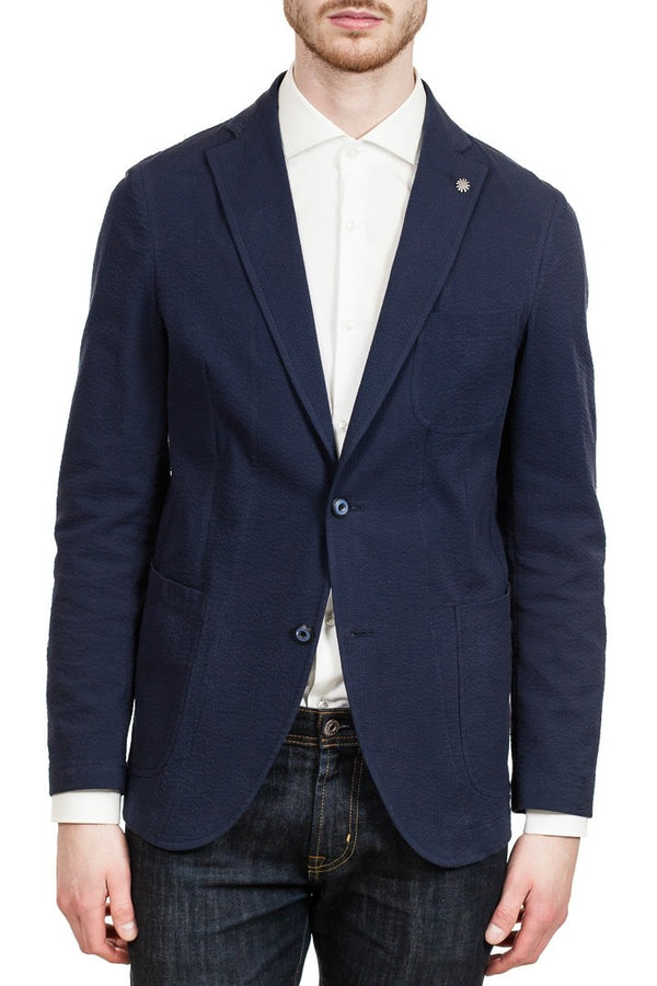 Angelo Nardelli Two-Button Stretch-Cotton Blazer in Navy