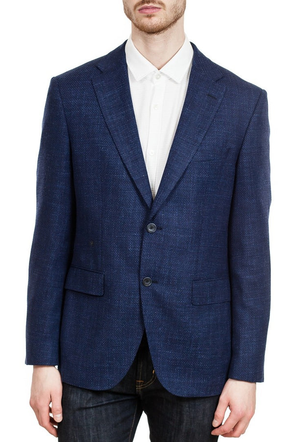 BOSS Jestor 4 Micro-Patterned Stretch Blazer in Navy