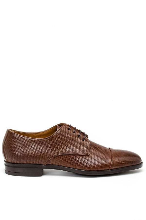 Hugo Boss Kensington Embossed Leather Derby Shoe in Medium Brown
