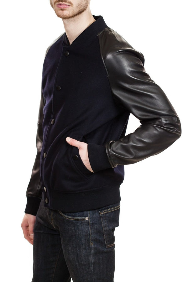 BOSS Mavcon Cashmere &amp  Leather Varsity Jacket