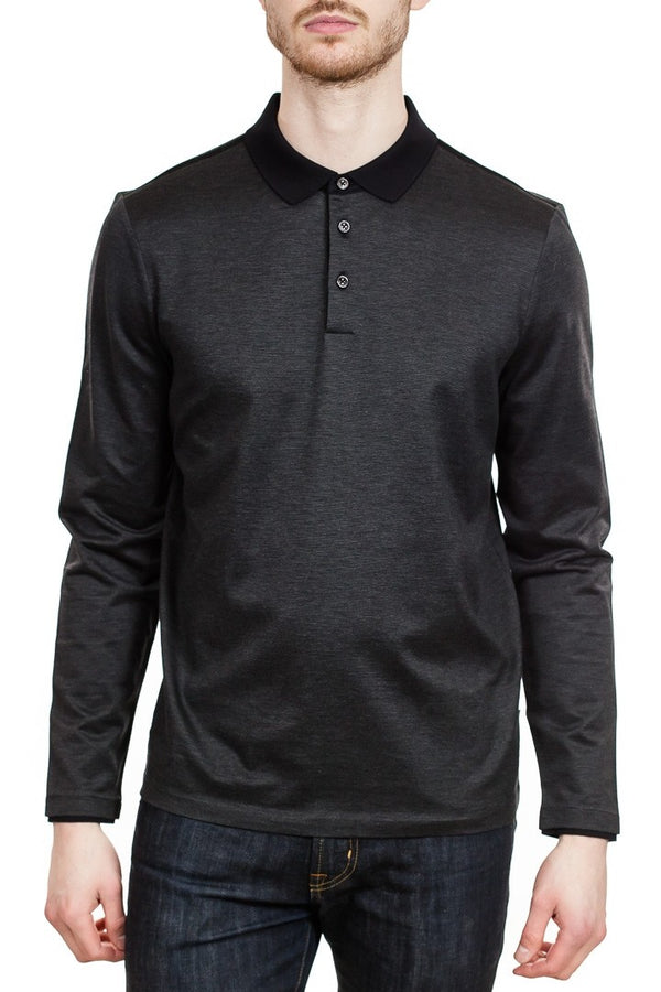 BOSS Pleins 04 Long Sleeve Polo Shirt in Black