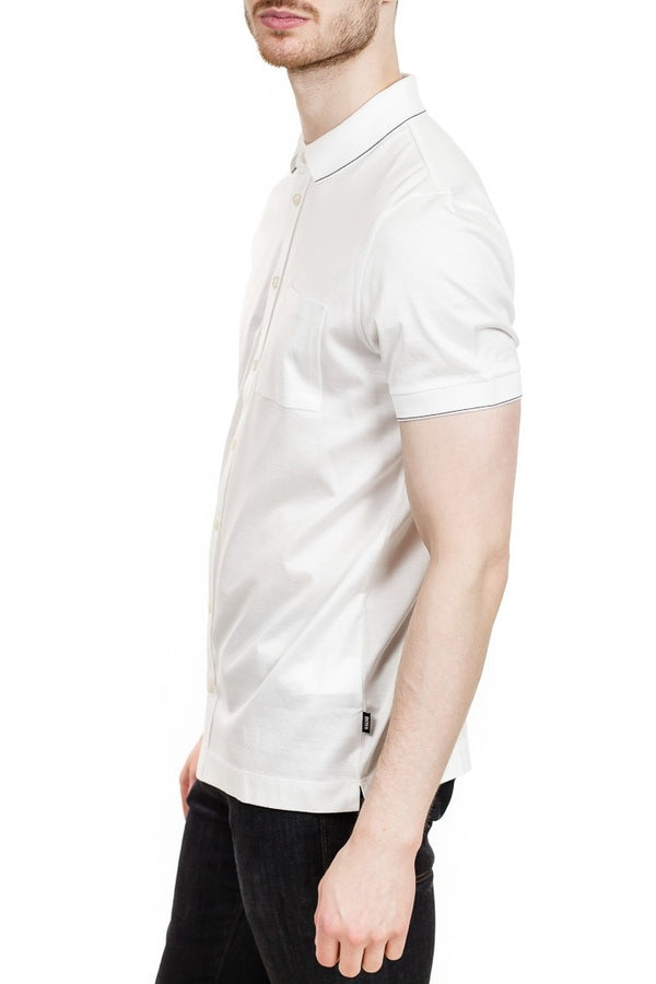 BOSS Puno Button Down Polo Shirt in White