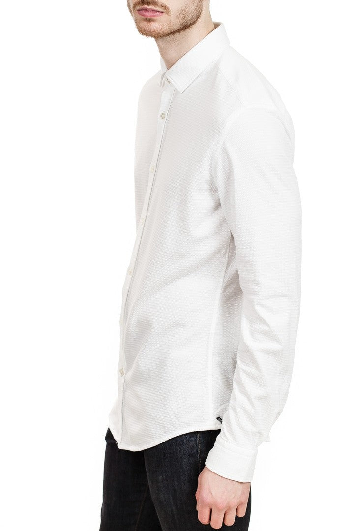 BOSS Rikki Slim-Fit Texture Weave Shirt in White