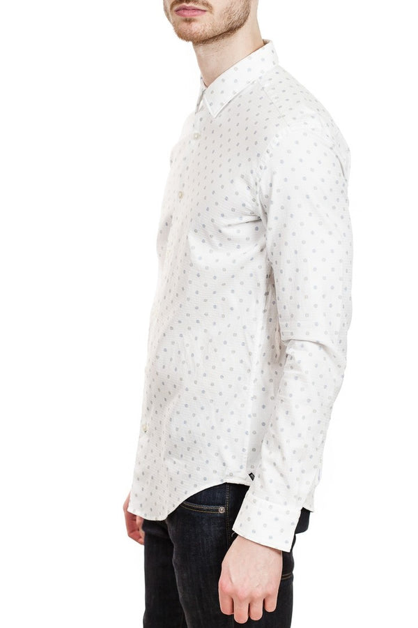 BOSS Ronni 53F Slim-Fit Texture Weave Shirt in White
