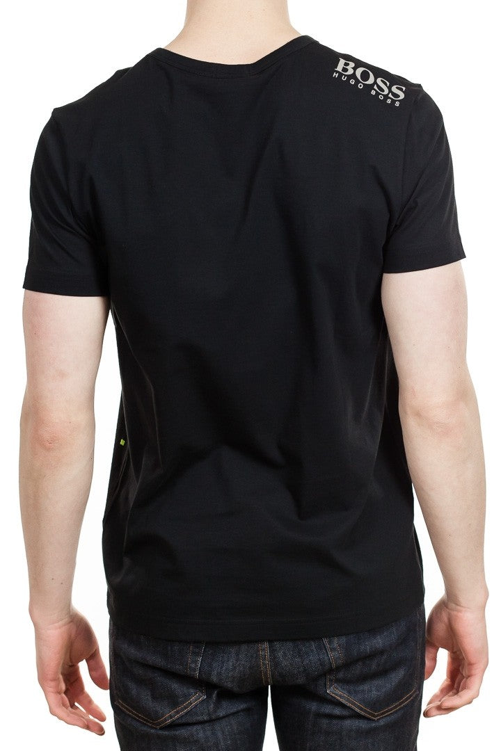 BOSS Teevn Cotton V-Neck in Black