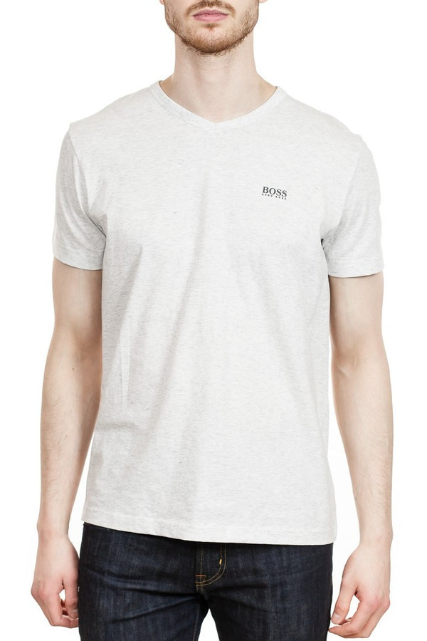 BOSS Teevn Cotton V-Neck in Light Grey