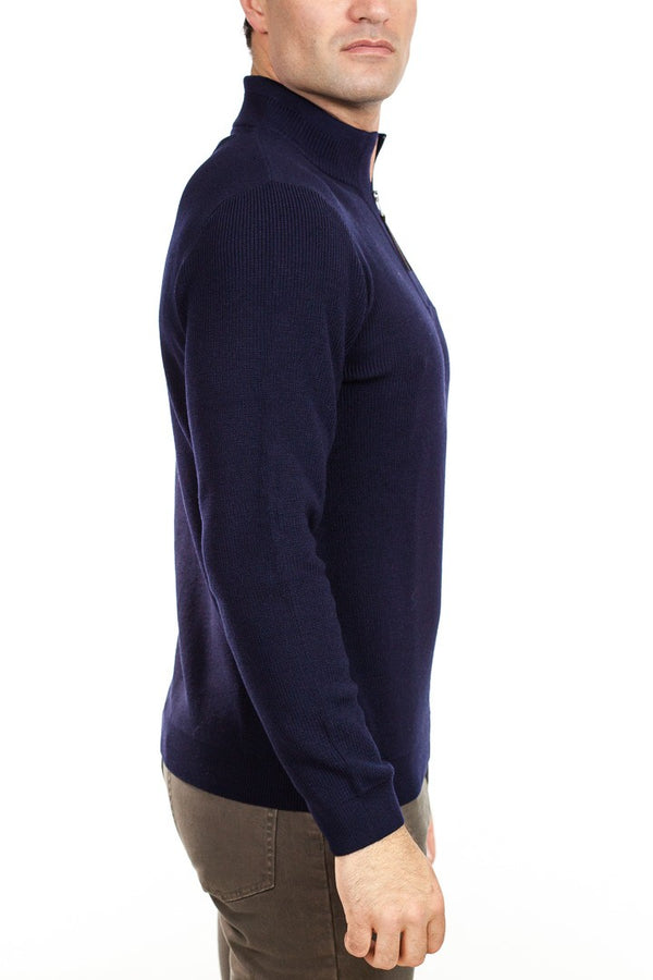 Brax - Soren Quarter Zip Sweater - Navy