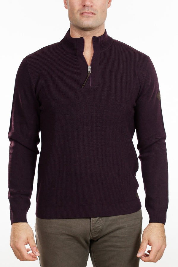 Brax - Soren Quarter Zip Sweater - Wine