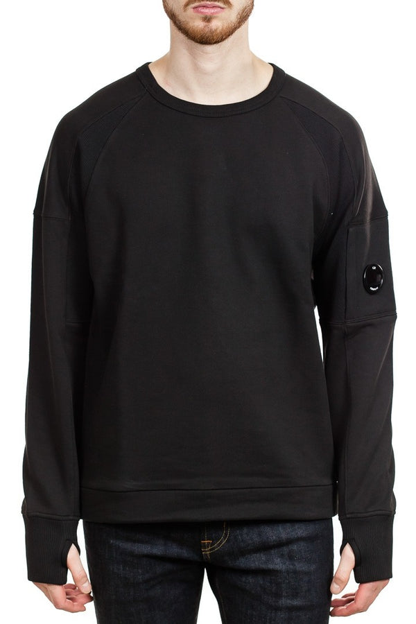 C.P. Company Diagonal Raised Fleece Lens Urban Crew Sweatshirt in Black