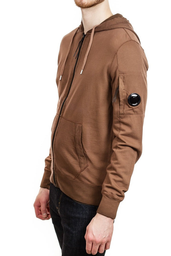 C.P. Company Re-Colour Lens Light Fleece Full Zip Hooded Sweatshirt in Brown