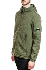 C.P. Company Scuba Fleece Lens Full Zip Hooded Sweatshirt in Olive