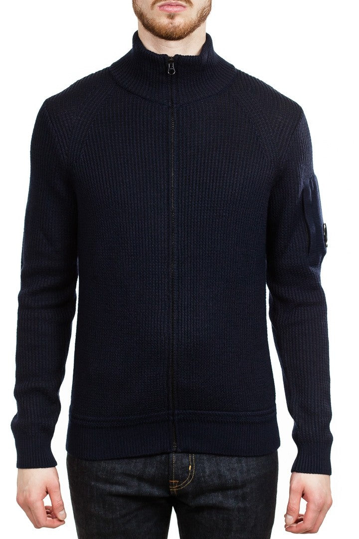 C.P. Company Lens Waffle Knit Zip Cardigan in Navy