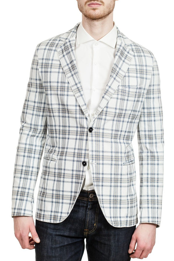 Circolo Two-Button Piquet Jacket in Off-White
