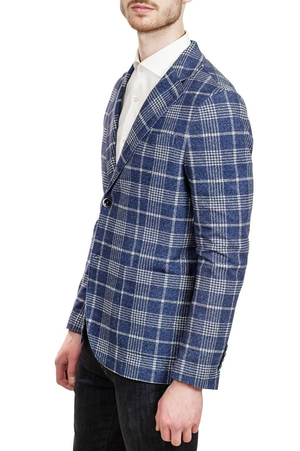 Circolo Two-Button Piquet Jacket in Blue Check