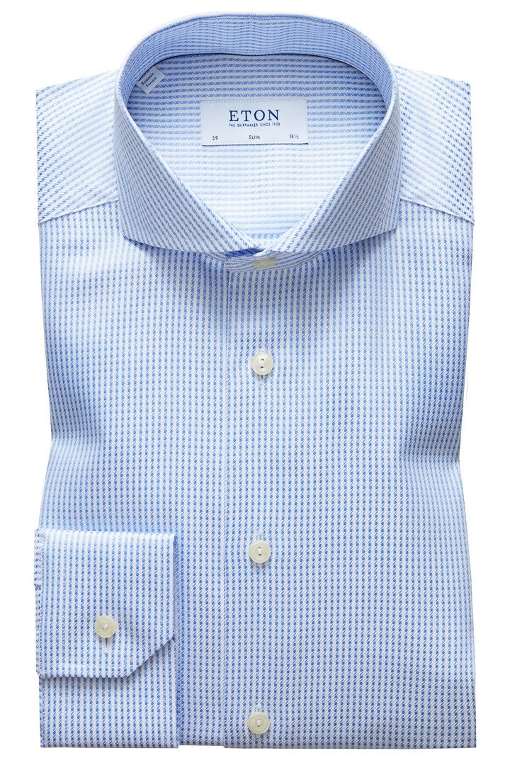 Eton Sky Blue Houndstooth Shirt