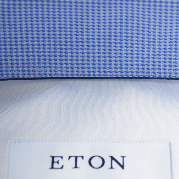 Eton Herringbone Shirt With Trim Details in White