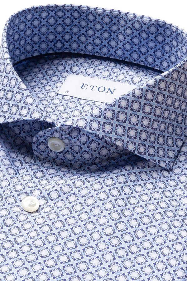 Eton Blue Block Print Slim Fit Poplin Shirt