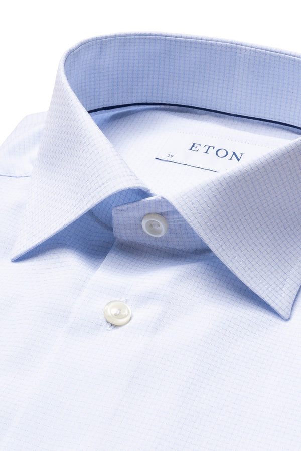 Eton Blue Checked Slim Fit Shirt