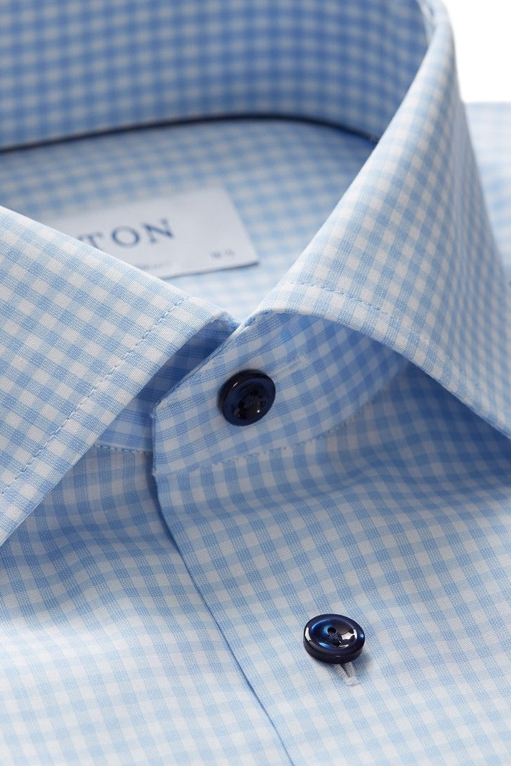 Eton Blue Check Shirt With Flamingo Detail