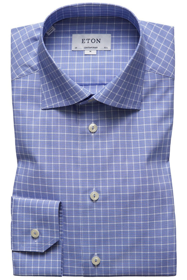 Eton Blue Check Twill Shirt