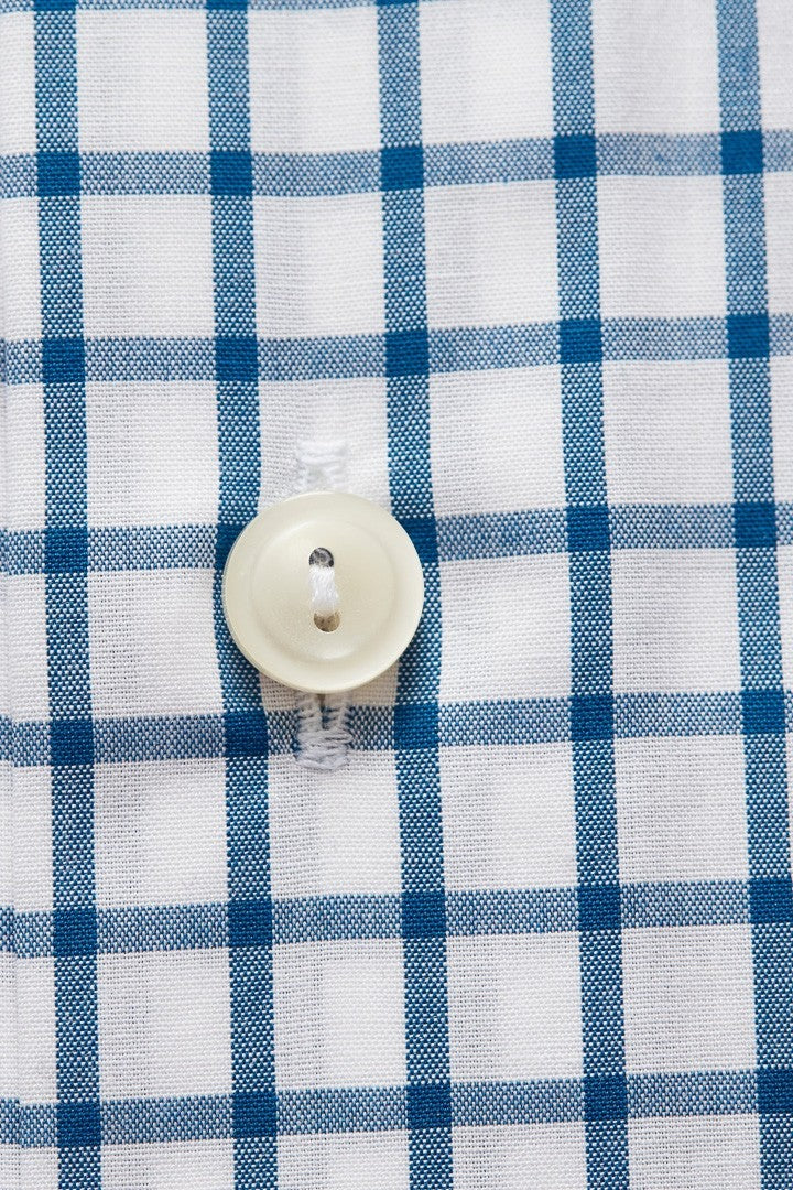 Eton Blue and White Check Twill Shirt