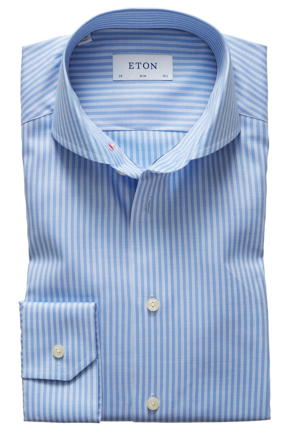 Eton Slim Fit Blue Striped Flamingo Embroidery Shirt
