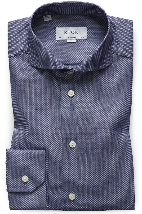 Eton Blue Geometric Twill Shirt