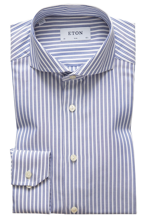 Eton Slim Fit Navy Striped Twill Shirt