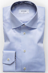 Eton Paisley Detail Shirt in Sky Blue