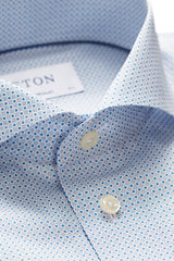Eton Extreme Cut Away Printed Poplin Shirt in Blue