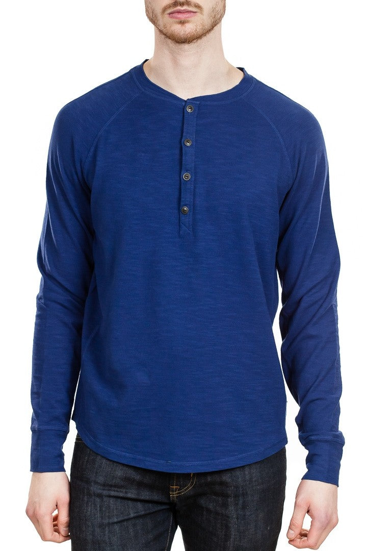 Good Man Brand Soft Slub Henley in Navy