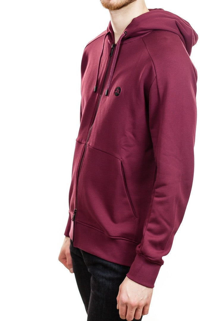 J. Lindeberg Throw Ring Loop Zip Up Hoodie in Zinfandel