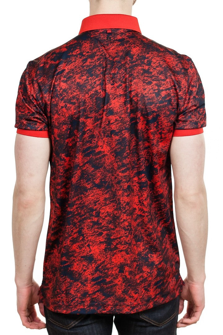 J. Lindeberg Tour Tech Slim Fit Camou Polo in Red