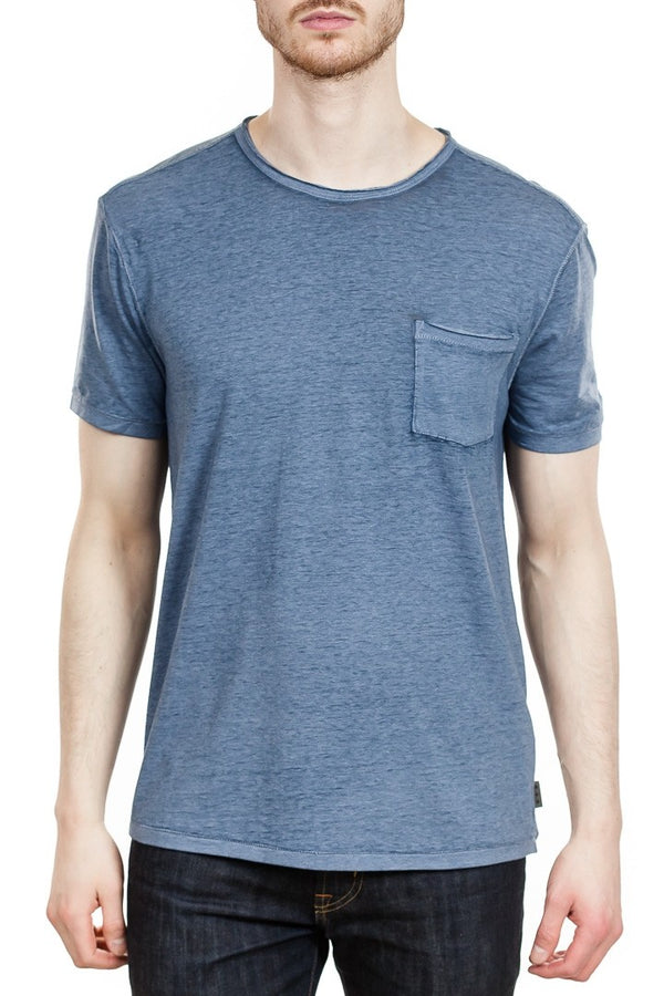 John Varvatos Burnout Tee in Blue Topaz