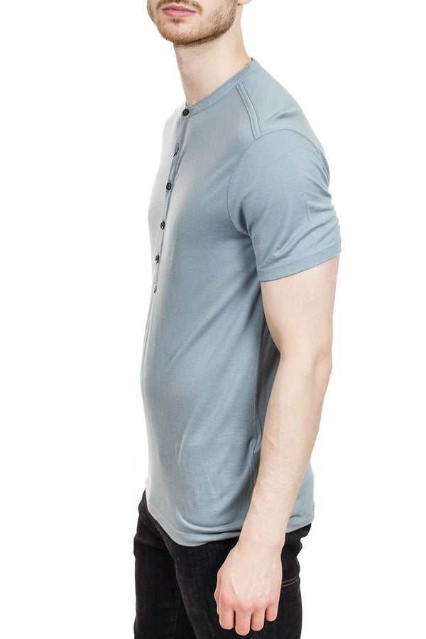 John Varvatos Clifton Short Sleeve Henley in Light Blue