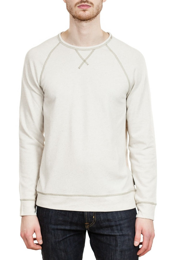 John Varvatos Domenic Long Sleeve Crew in Oatmeal