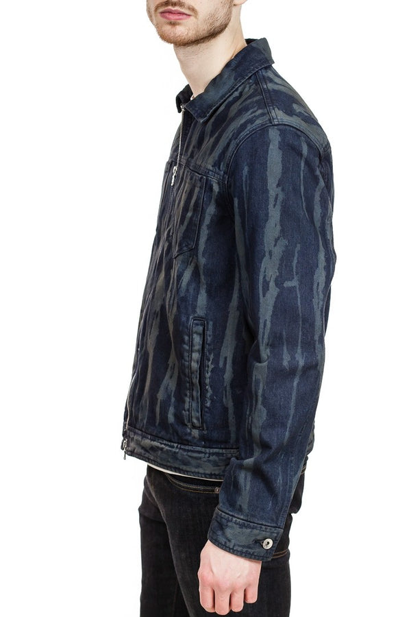 John Varvatos Lucas Zip Up Trucker Jacket in Navy