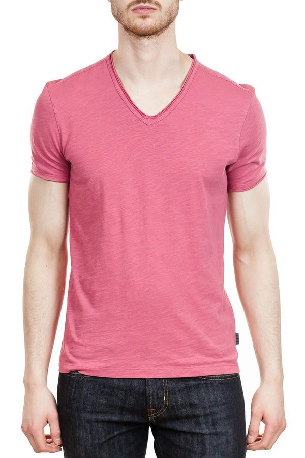 John Varvatos Miles V-Neck Tee in Azelea