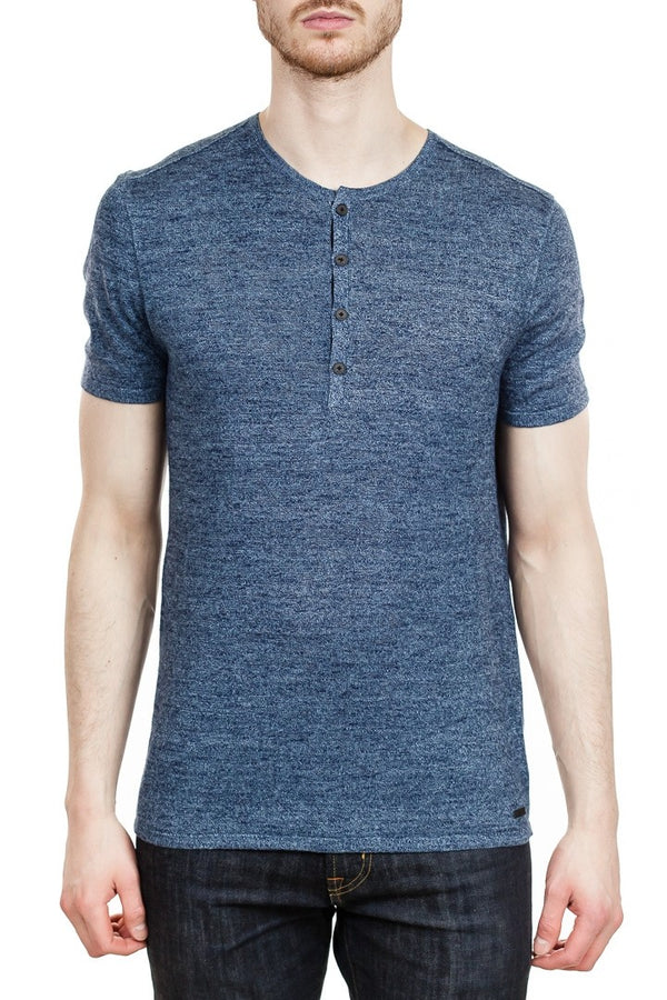 John Varvatos Rhys Short Sleeve Henley in Aqua Heather