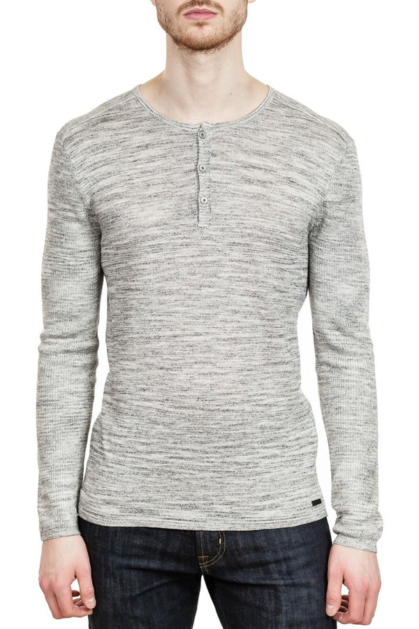 John Varvatos Sean Linen Henley in Light Grey