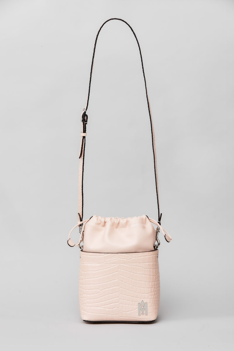 Mackage Liya Bucket Bag With Drawstring Closure in Light Pink