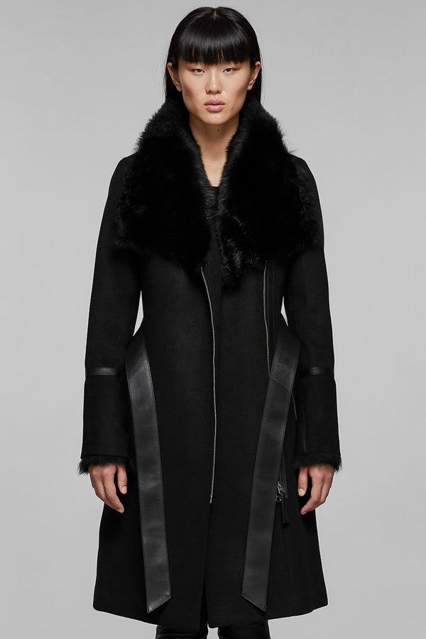 Mackage Nerea-NW Tailored Coat With Sheepskin Collar in Black
