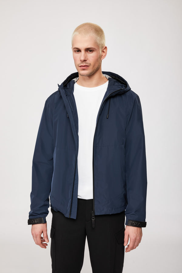 Mackage Oren Rain Jackey With Hood and Kangaroo Pockets in Navy