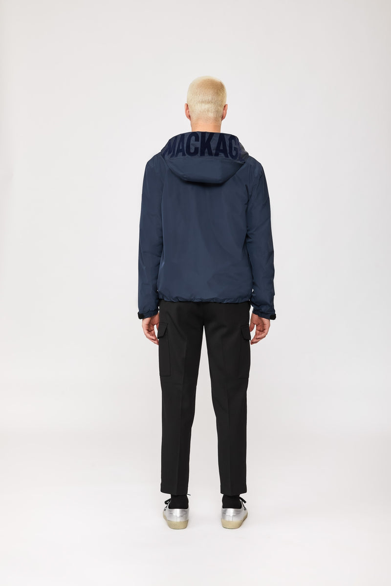 Mackage Oren Rain Jacket With Hood and Kangaroo Pockets in Navy