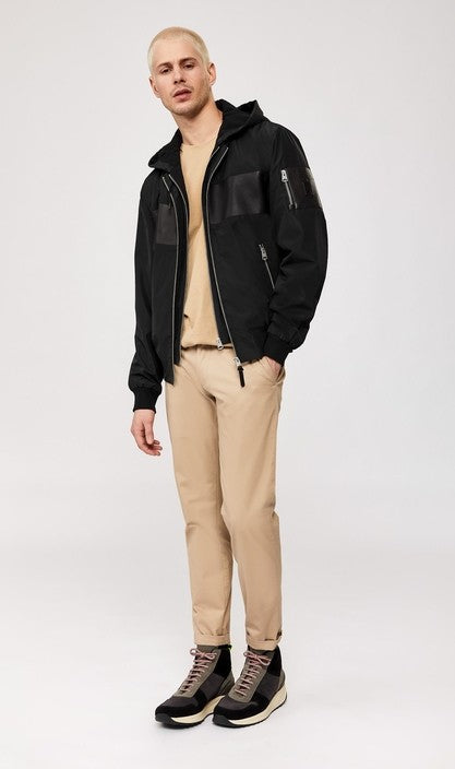Mackage Weston 2-in-1 bomber-style rain jacket with stripe in Black