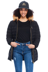 Moose Knuckles Ladysmith Jacket in Black With Gold Fox Fur